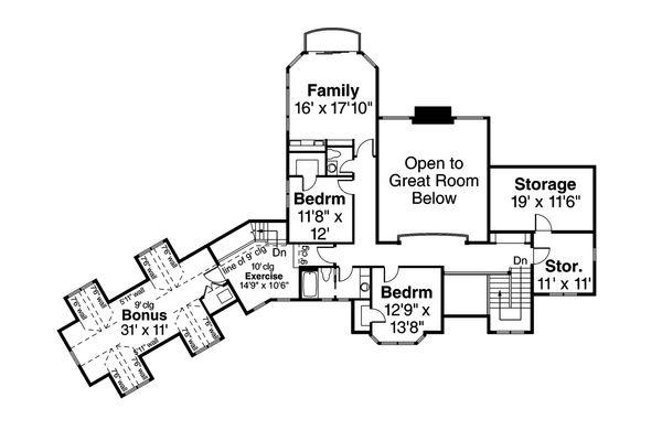 Craftsman Floor Plan - Upper Floor Plan Plan #124-1032