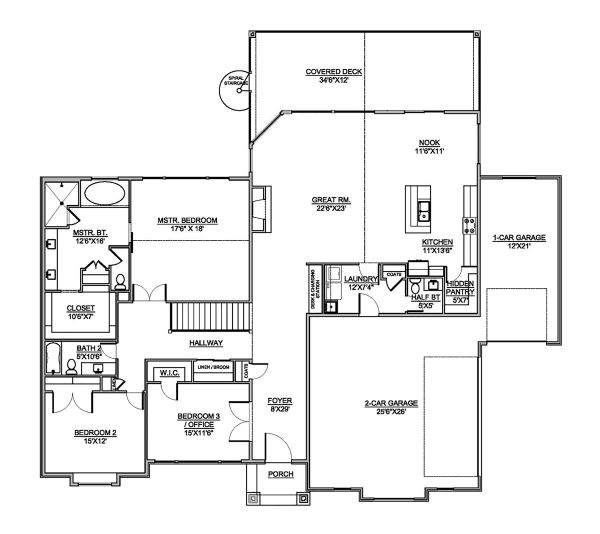 Craftsman Floor Plan - Main Floor Plan Plan #1073-1