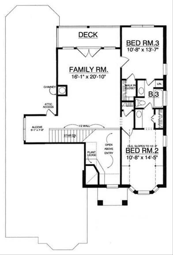 European Floor Plan - Upper Floor Plan Plan #40-256