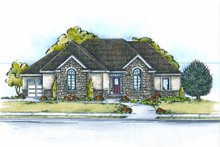 European Exterior - Front Elevation Plan #20-2061