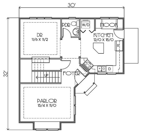 European Floor Plan - Main Floor Plan Plan #423-42