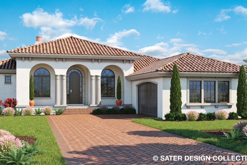 Mediterranean Style House Plan - 3 Beds 2.5 Baths 2250 Sq/Ft Plan #930-501 Exterior - Front Elevation