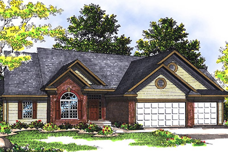 Traditional Style House Plan - 3 Beds 2.5 Baths 1907 Sq/Ft Plan #70-237 Exterior - Front Elevation