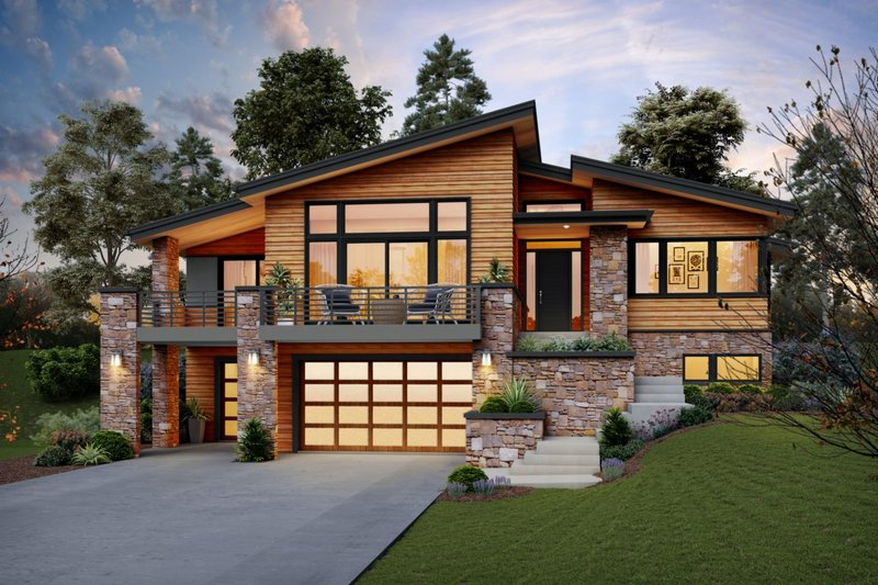 Contemporary Style House Plan - 4 Beds 2.5 Baths 2707 Sq/Ft Plan #48-979 Exterior - Front Elevation