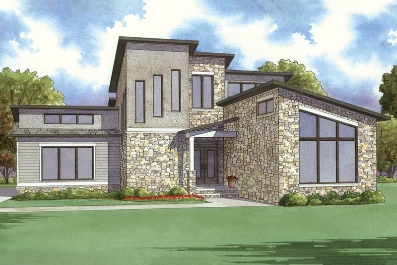 Contemporary Exterior - Front Elevation Plan #923-52 - Houseplans.com