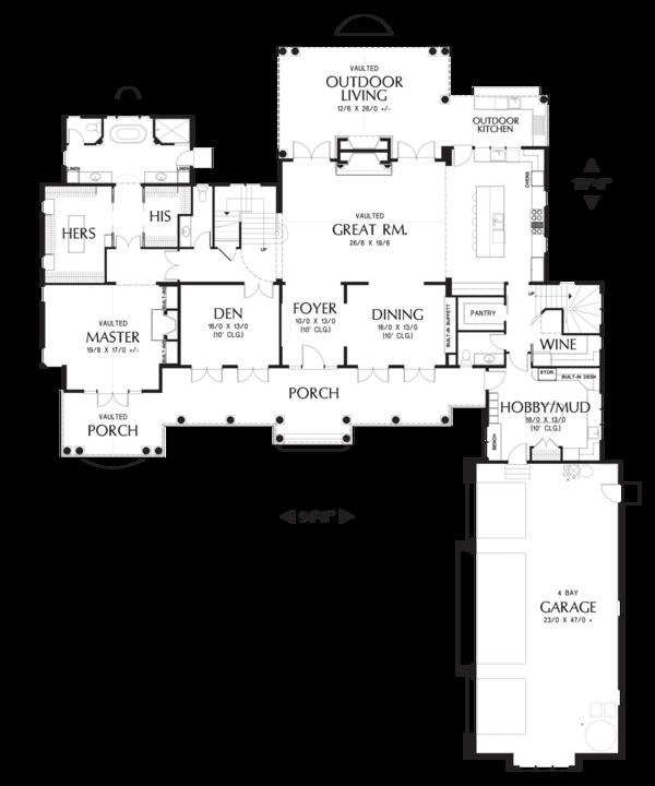 House Plan Design - Colonial style house plan, main level floor plan