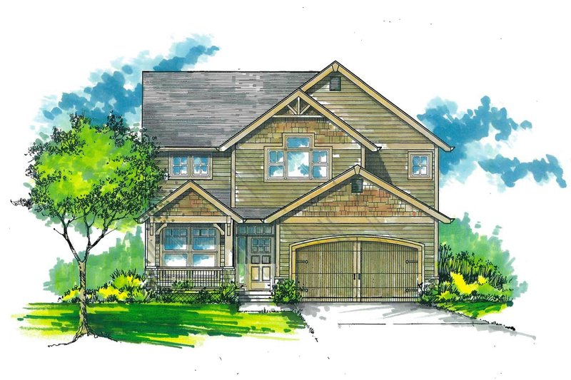 Craftsman Exterior - Front Elevation Plan #53-486