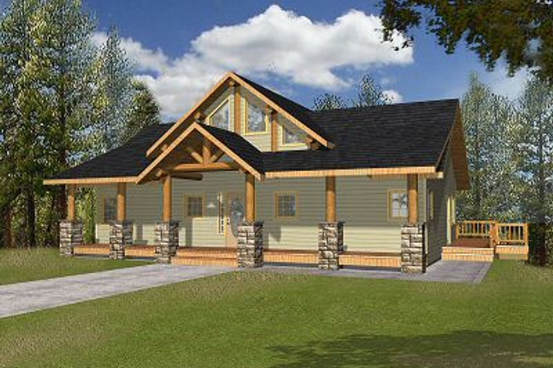 Bungalow Style House Plan - 3 Beds 2.5 Baths 3278 Sq/Ft Plan #117-542 Exterior - Front Elevation
