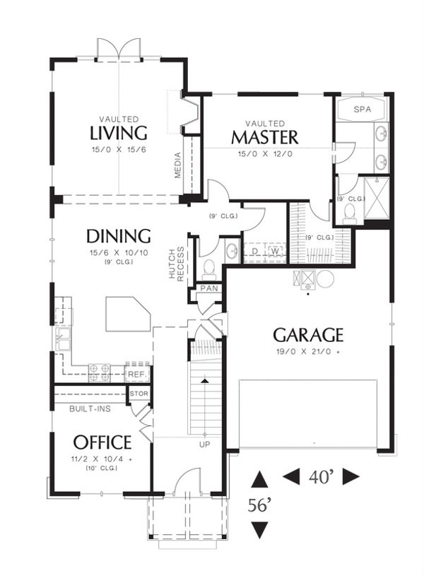 Craftsman Floor Plan - Main Floor Plan Plan #48-524