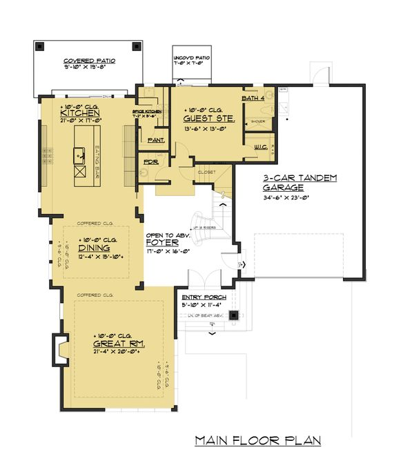 Contemporary Floor Plan - Main Floor Plan Plan #1066-97