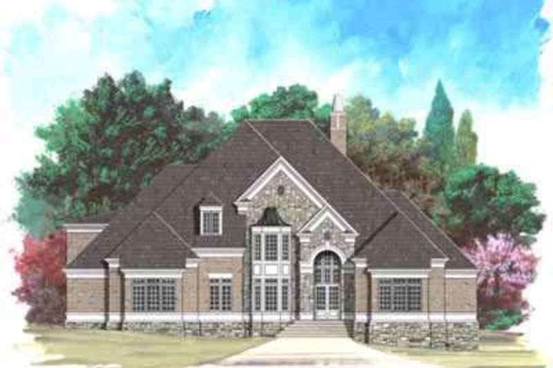 European Style House Plan - 5 Beds 4 Baths 3900 Sq/Ft Plan #119-214 Exterior - Front Elevation