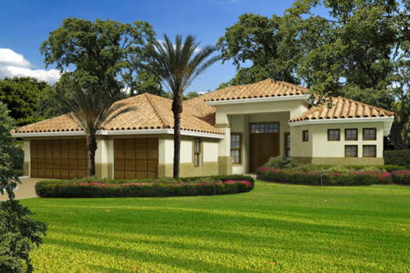 Mediterranean Style House Plan - 3 Beds 3.5 Baths 2720 Sq/Ft Plan #420-273 Exterior - Front Elevation