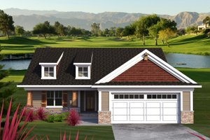 Ranch Exterior - Front Elevation Plan #70-1190