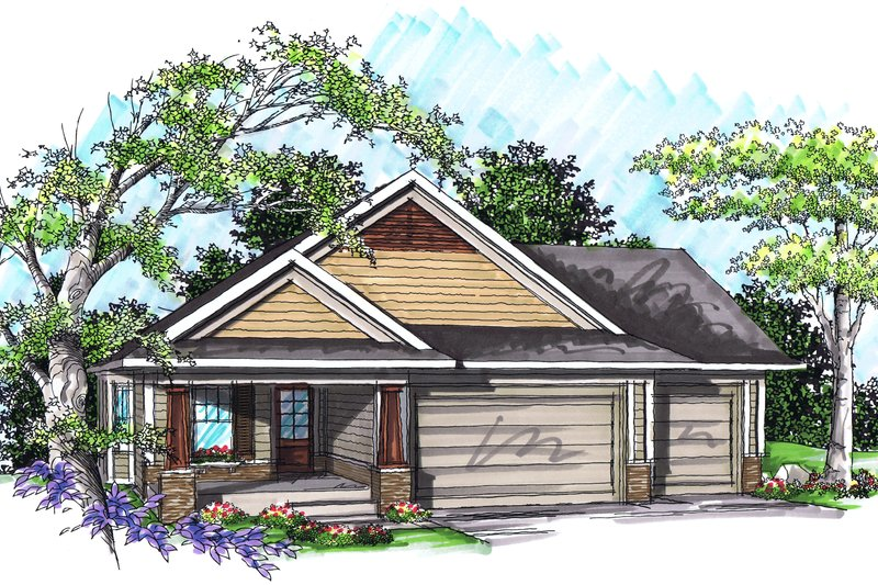 Dream House Plan - Ranch Exterior - Front Elevation Plan #70-1019
