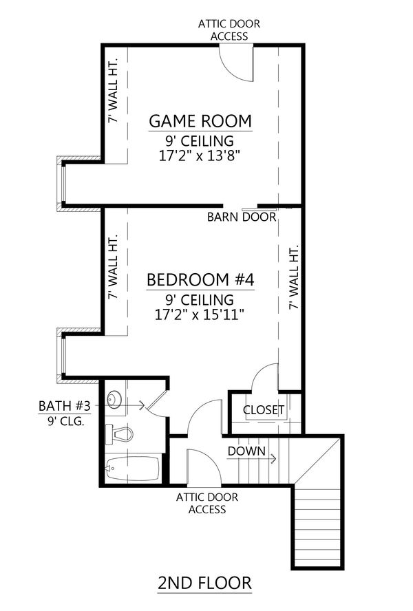 European Floor Plan - Upper Floor Plan Plan #1074-16