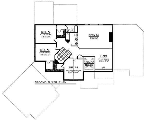 Craftsman Floor Plan - Upper Floor Plan Plan #70-1233