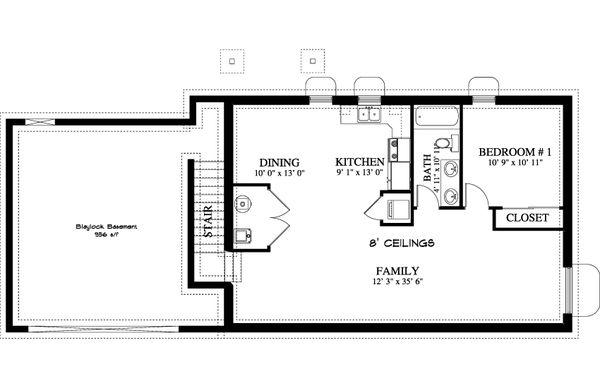 Ranch Floor Plan - Lower Floor Plan #1060-38