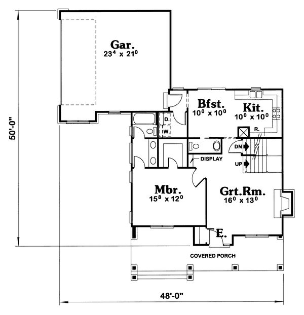 Architectural House Design - Traditional Floor Plan - Main Floor Plan #20-409
