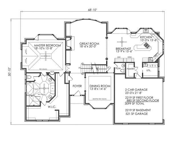 Traditional Floor Plan - Main Floor Plan Plan #30-342