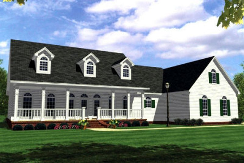 Farmhouse Style House Plan - 4 Beds 3 Baths 2506 Sq/Ft Plan #21-117 Exterior - Front Elevation