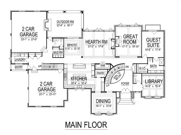 European Floor Plan - Main Floor Plan Plan #458-23
