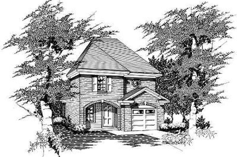European Style House Plan - 3 Beds 2 Baths 1161 Sq/Ft Plan #329-160 Exterior - Front Elevation