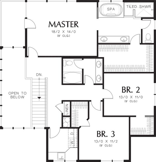 Upper Level Floor plan - 3700 square foot Prairie style home