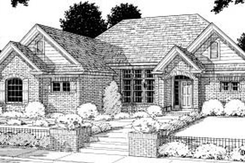Traditional Style House Plan - 3 Beds 2 Baths 1767 Sq/Ft Plan #20-190 Exterior - Front Elevation