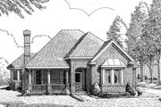 European Style House Plan - 3 Beds 2 Baths 1496 Sq/Ft Plan #410-170 Exterior - Front Elevation