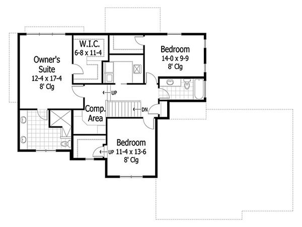 Traditional Floor Plan - Upper Floor Plan Plan #51-416