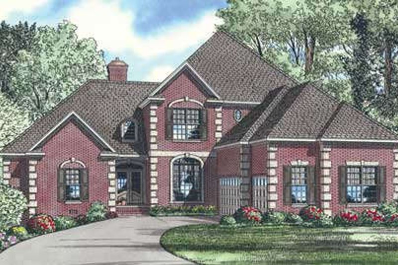 European Style House Plan - 5 Beds 4 Baths 3437 Sq/Ft Plan #17-201 Exterior - Front Elevation