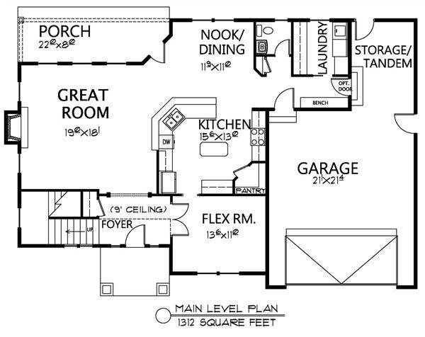 Traditional Floor Plan - Main Floor Plan Plan #133-108