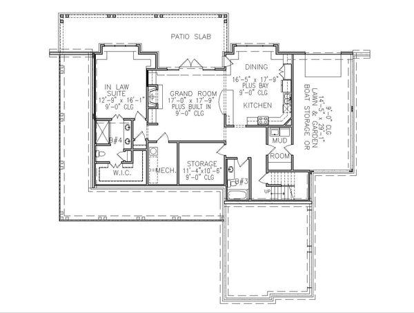 Dream House Plan - Farmhouse Floor Plan - Lower Floor Plan #54-394