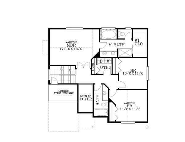 Craftsman Floor Plan - Upper Floor Plan Plan #53-507
