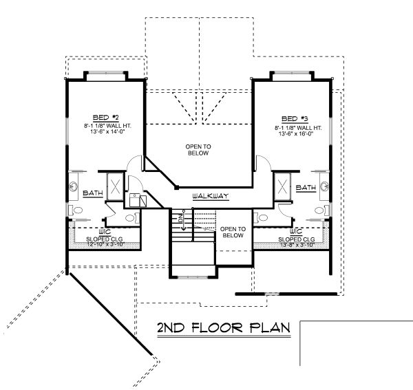 Craftsman Floor Plan - Upper Floor Plan Plan #1064-17