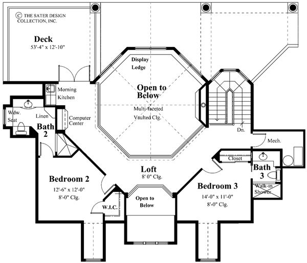 Southern Floor Plan - Upper Floor Plan Plan #930-18