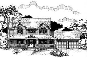 Country Exterior - Front Elevation Plan #50-218
