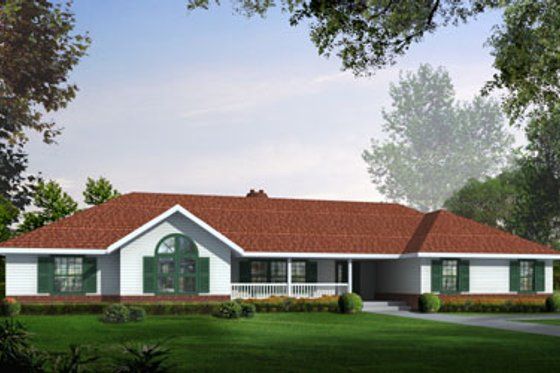 Ranch Exterior - Front Elevation Plan #100-462