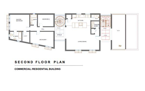 Modern Floor Plan - Upper Floor Plan #535-1