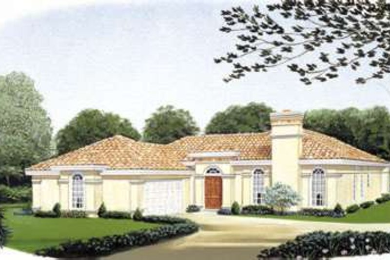 Mediterranean Exterior - Front Elevation Plan #410-125
