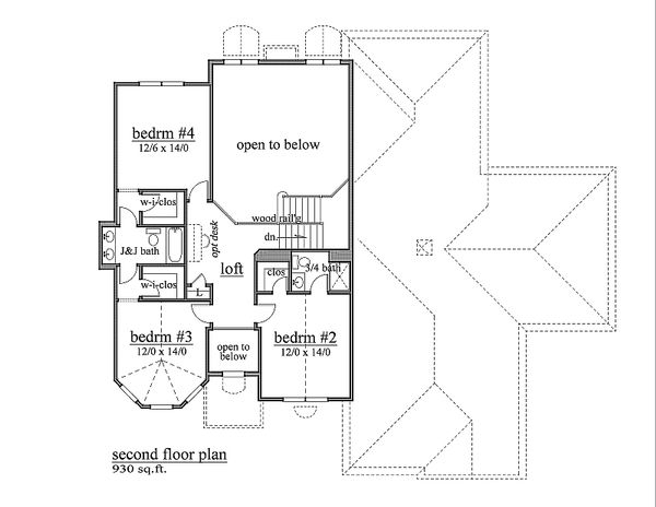 European Floor Plan - Upper Floor Plan Plan #459-3