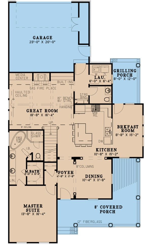 House Plan Design - Farmhouse Floor Plan - Main Floor Plan #923-103