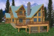 Log Style House Plan - 3 Beds 2 Baths 3303 Sq/Ft Plan #117-102 Exterior - Front Elevation
