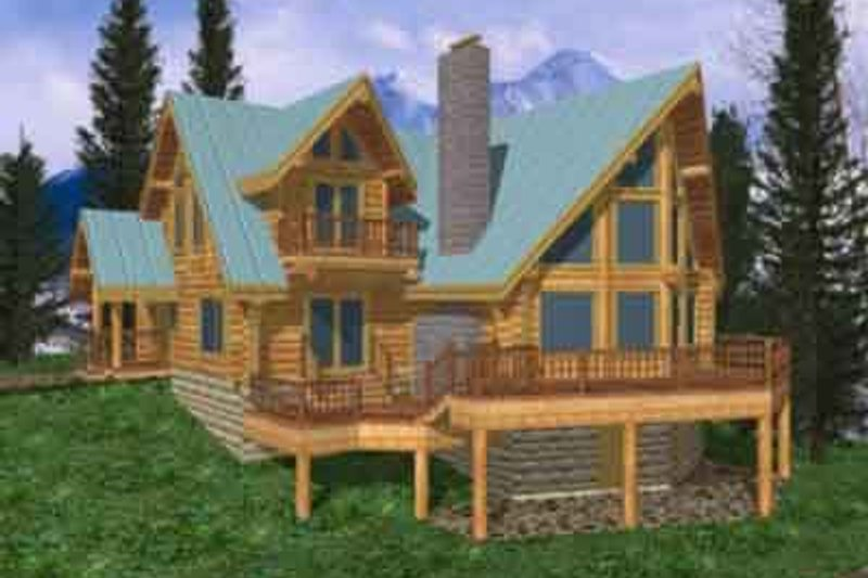 Log Exterior - Front Elevation Plan #117-102 - Houseplans.com