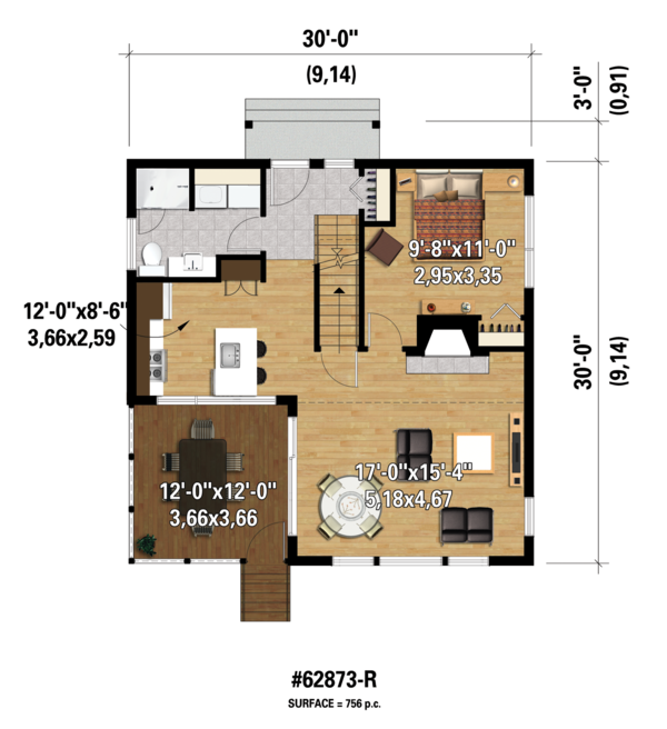 Contemporary Floor Plan - Main Floor Plan Plan #25-4599