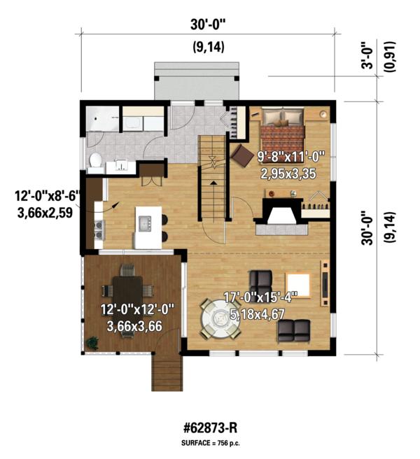 Contemporary Floor Plan - Main Floor Plan #25-4599