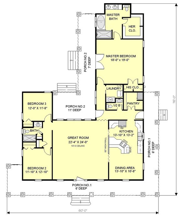 Country Floor Plan - Main Floor Plan Plan #44-121