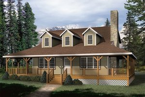 Country style farmhouse home, front elevation