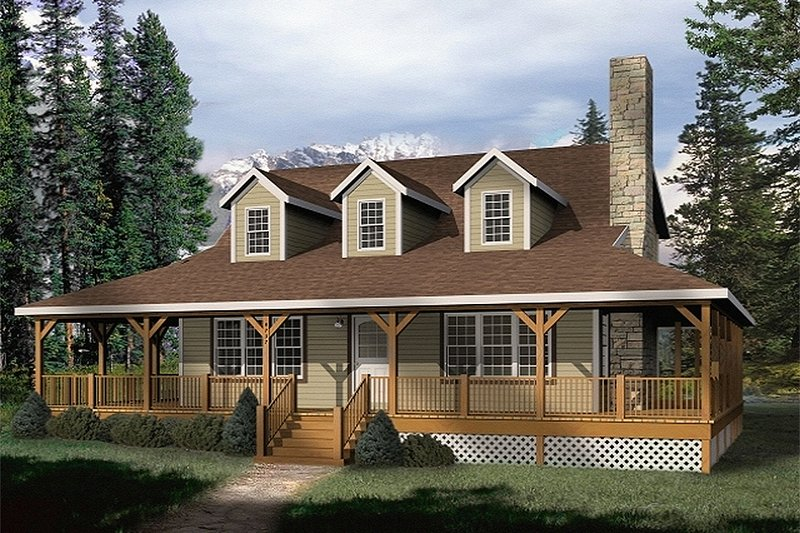 Farmhouse Style House Plan - 3 Beds 2 Baths 1879 Sq/Ft Plan #22-219 Exterior - Front Elevation