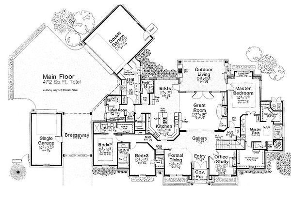 House Plan Design - European Floor Plan - Main Floor Plan #310-700